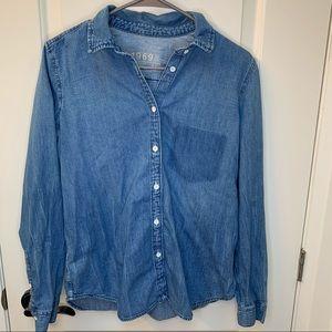 Gap denim icon boy shirt button up blouse sweater
